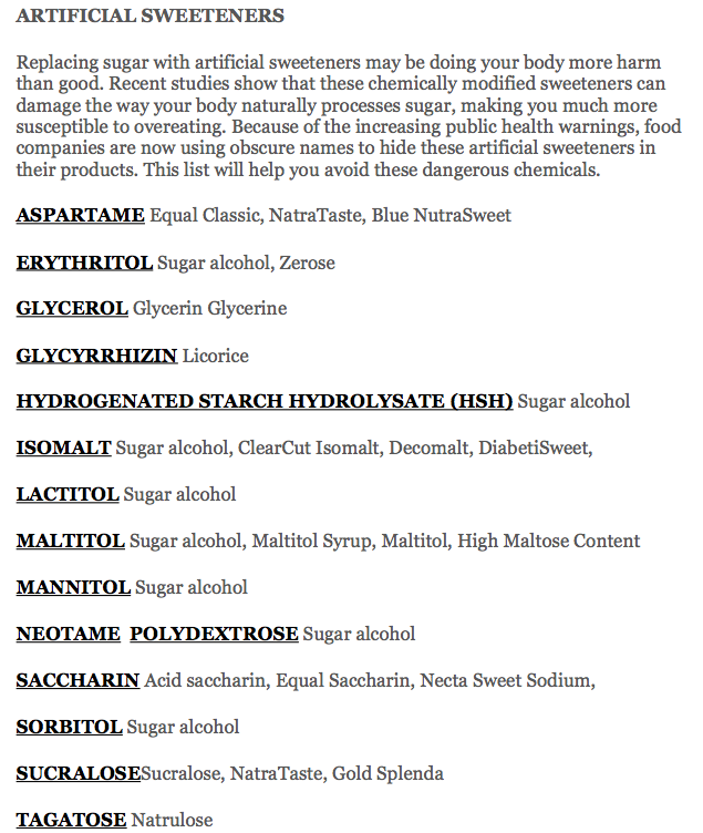Artificial Sweeteners List