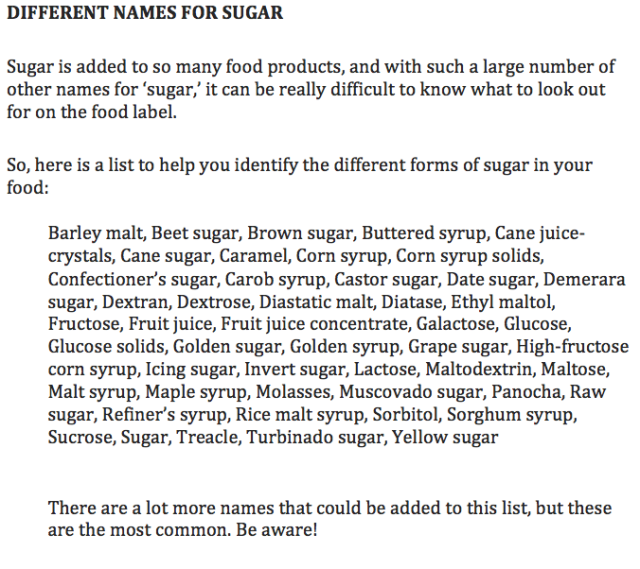 Different Names for Sugar List