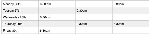 free timetable